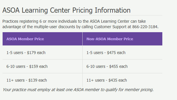 ASOA Learning Center Pricing